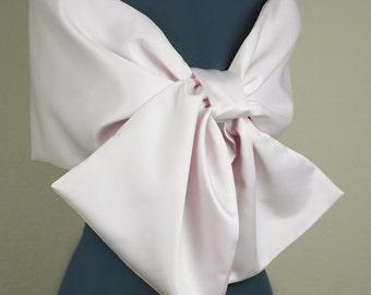 Wedding Shawl, Pink Matte Satin Wrap, Double Face Shawl, Bride and Bridesmaid Shawls-sf004
