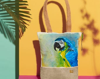 Blue and Gold Macaw Handpainted Summer Tote Bag   Handmade from the Philippines