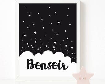 Bonsoir print, Kids room Decor, Scandinavian Print, Nursery Decor, Nursery Art, Kids Poster, Printable Quote