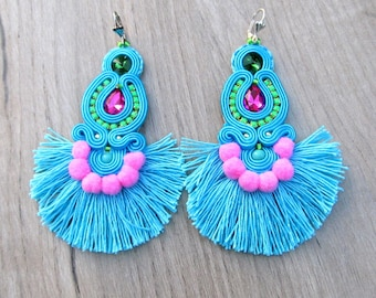 Turquoise Tassel Earrings, Statement Earrings with Crystals and Pom Poms, Soutache Earrings, Fringe Earrings, Long Dangle Drop Earrings
