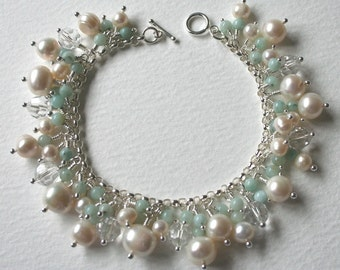 Pearl and Amazonite Sterling Silver Charm Bracelet