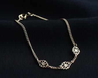"14k gold filled filigree bracelet - ""les fleurs"" handmade bracelet - layering jewelry - simple charm bracelet"