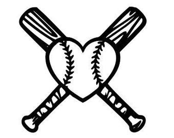 Heart Love Baseball Bats Vinyl Car Decal Bumper Window Sticker Any Color Multiple Sizes Custom Jenuine Crafts