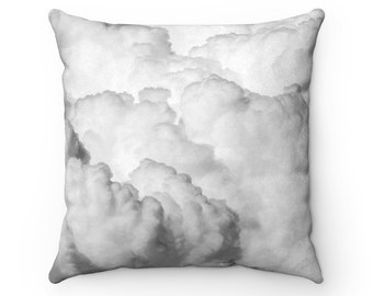 Faux Suede Square PillowBig Fluffy Grey Clouds