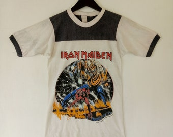 Vintage IRON MAIDEN 80s the number of the beast / world tour 1982-1983 USA small size megarare promo concert tee t-shirt