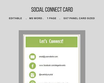 Social Media Connect Card for Clients. Package Insert. Welcome Package. Networking Card. Editable Template. MS Word.