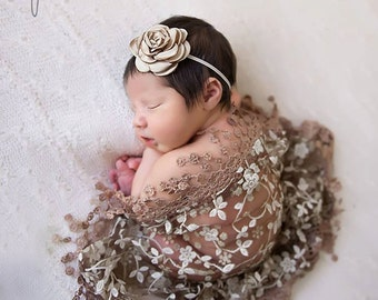 Lace Fringe Swaddle Wrap in Brown with Satin Rose Flower on a Skinny Elastic Headband for newborn photo shoots, by Lil Miss Sweet Pea