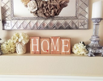 Home Sign, Wood Home Blocks, Distressed Home Decor, Home Decor, Rustic Wood
