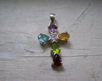 Sterling Silver  Lenox Cross Semiprecious Stones for Necklace