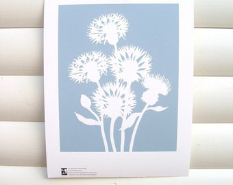 Botanical Art Print Dusky Blue Cornflower - 10x8 Modern Botanical Floral Pretty Papercut Design