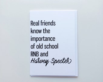 Real Friends Greeting Card, Friendship Card, Witty Card, Humorous Card, Suits Card, Black and White, Just Because Card, For You Card