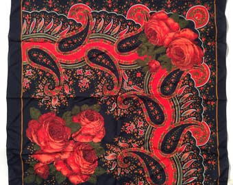 Vintage 1970s Red Black and Green Gypsy Boho Bold Floral Rose Scarf, Made in Italy, Classic and Classy