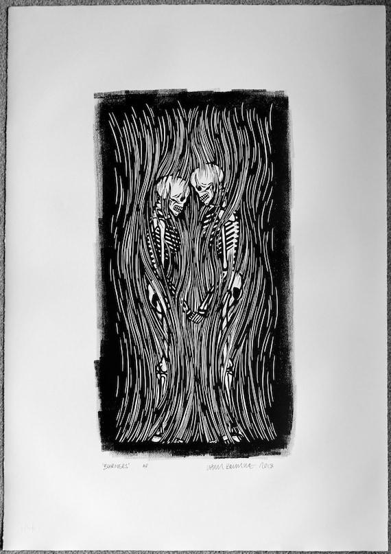 Chris Bourke Lino Print artist Linocut
