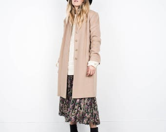 BEAUTIFUL Vintage Beige Wool Coat / S / hipster jacket coat womens outerwear overcoat oversized coat