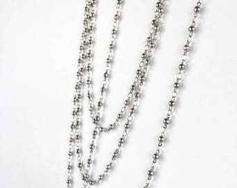 Silver Bead Chain, Silver Rosary Chain, 3mm Bead Chain, 2FT