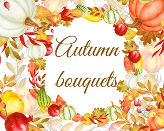 Watercolor autumn bouquet, Fall wreaths, Hand painted clipart, Watercolor clipart, Floral clipart, Autumn wreath, Fall clipart, Fall bouquet