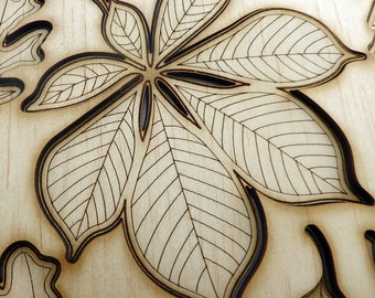 Laser Cut Wooden Leaves, craft making supply