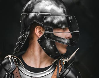 Young Guts Helmet from Berserk Replica - Blackened Steel Head Protection - Steel ARMOR handcrafted custom made