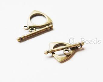 20 Sets Antique Brass Tone Base Metal Toggle Clasps (1406Y-K-150B)
