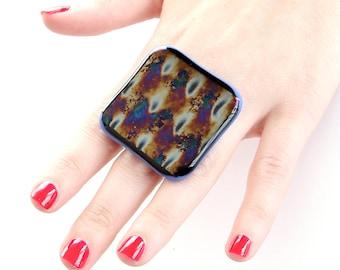 Big Dichroic Glass Ring - handmade ring, statement ring, metallic ring, cocktail ring , Studioleanne