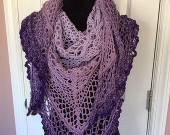 Spring/summer light weight Hand knit wrap/shawl, ready to ship