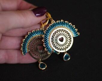 Teal Blue Earrings, Golden Filigree Earrings, Ethnic Fan Earrings, Delicate Earrings, Boho Chic Earrings, Golden Fan Earrings, Blue & Gold