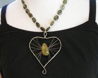 Labradoreite Heart Necklace