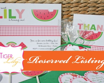 Reserved Listing for Sweet Watermelon Party items for Alison