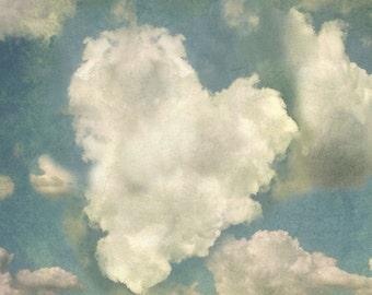 Heart Cloud Blue sky white fluffy clouds nursery art dreamy baby room decor