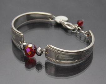 Vintage Silverware Bracelet with Beads Antique
