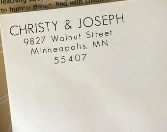 Return Address Stamp, Custom Address Stamp, Return Address Stamp Self Ink, Wooden Stamp, Wood Block Rubber Stamp, Personalized Address Stamp