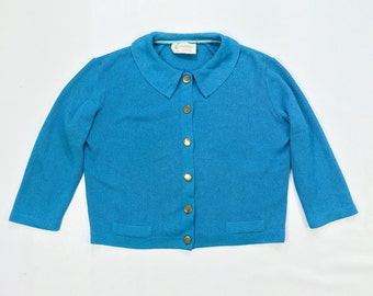 50s COBALT Cardigan Sweater Womens Large xl plus size Gold Button Down CROPPED Cardigan Royal Blue ROCKABILLY stretchy 3/4 Sleeve Collared