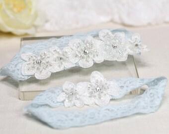 Blue Garter Set , Wedding Garter Set, Lace Garter Set , Wedding Garters, Bridal garters, Wedding Garter Belt