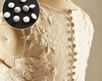 10 pcs Wedding button, Fibre wrapped button, Bridal dress button, Shank button, White cream button