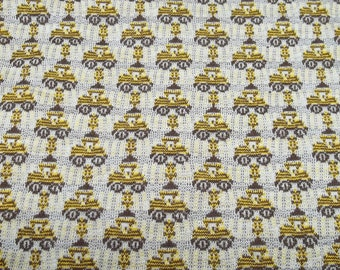 Vintage yellow/brown fabric,yellow/brown fabric,brown fabric,tractor design fabric,children fabric,boys room decoration,boys room pillows