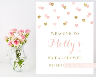 Bridal baby shower Welcome sign, Blush Pink Gold Heart Confetti printable, 8x10, shower decor, customizable sign, 015