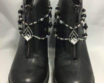 Black and Clear Double Strand Boot Straps / Boot Jewelry / Boot Bling / Shoe Jewelry