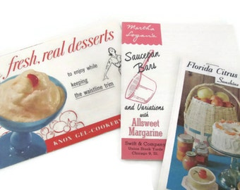 Vintage 1950's Dessert Recipe Booklets, Vintage Cookbook, Cookie, Candy Recipes