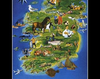 "Map of Ireland, Landmarks, History, Flight, Ocean  8x10"" Satin Canvas Print"