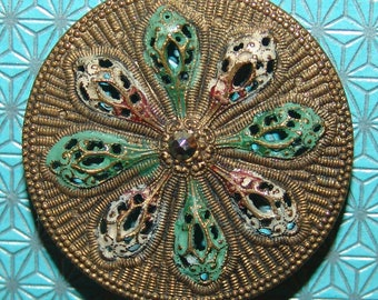 "Beautiful Antique Open Work Brass Button ~ Large 1 1/4""~ Basket Weave ~ Enamel Accents ~ Ruffled Effect ~ Very Pretty!"