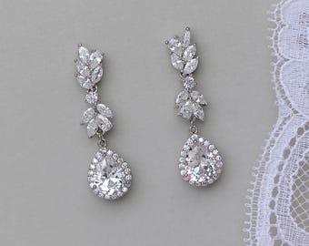 Crystal Earrings, Bridal Earrings, Crystal Chandelier Bridal Earrings, Crystal Bridal Jewelry,ANNIE C-2