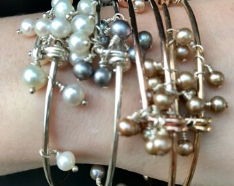"""the """"lydia"""" bracelet ~ champagne freshwater pearls affixed to gold-filled adjustable bangle"""