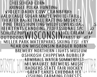 Wisconsin word art typography PNG JPEG file