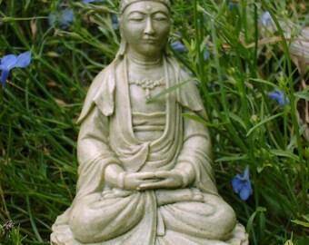 Quan Yin Buddha Goddess of Compassion in Moss Green