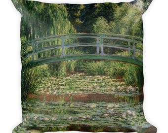 Claude Monet, The Japanese Footbridge and the Water Lily Pool - Square Pillow