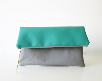 Fold over Clutch Mint green Grey, Faux Leather , Color block
