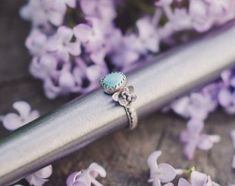Sky Cloud Turquoise Ring - Size 6 US - Sterling Silver