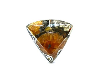 Simbircite ammonite with pyrite natural stone cabochon  36 х 32 х 9 mm
