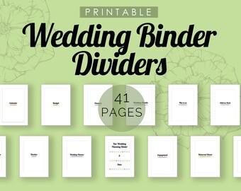 Wedding Binder Dividers Printable - printable, wedding, organization, binder, pdf, planner binder, wedding planner, wedding printables