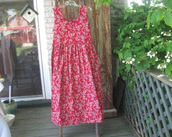 Vintage Jumper Ladies red Jumper Summer Dress  Maternity Dress by Naqui size1XL